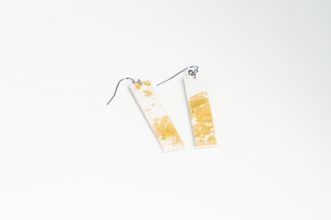 Gild Gold White Earrings - Long