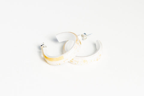 Gild Gold White Hoop Earrings - Small