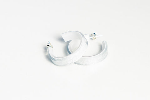 Gild Silver White Hoop Earrings - Small