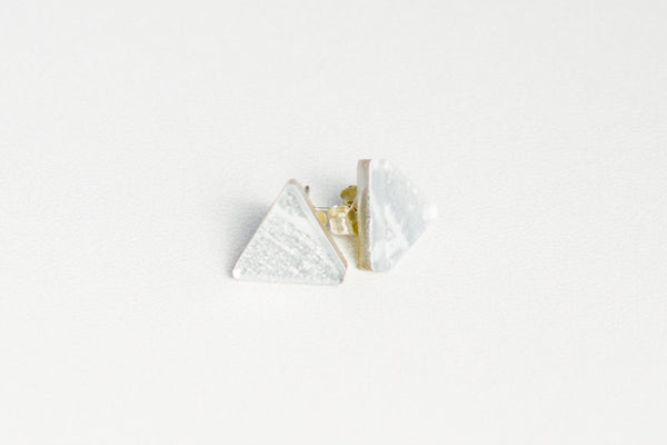 Gild Silver White Stud Earrings - Triangle