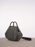 WET WAX PLEATED PURSE - GREY/BLACK