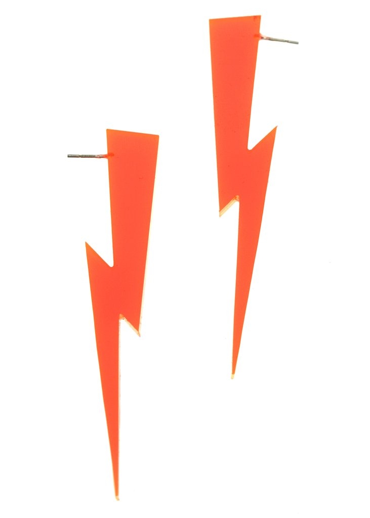 LIGHTNING BOLT EARRINGS IN CLEAR ORANGE