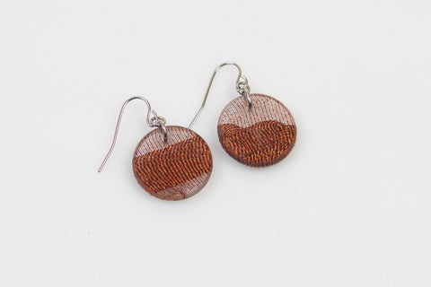 Swept Copper Earrings - Circle