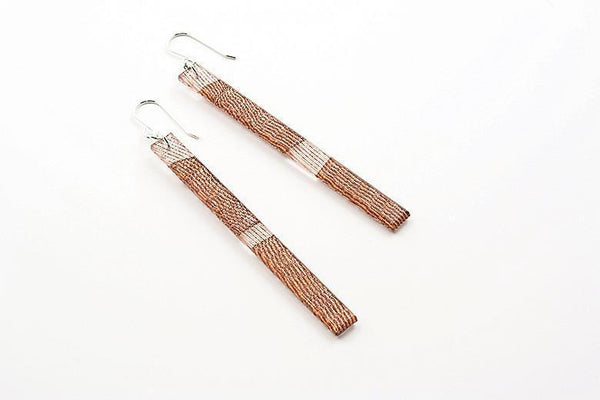 Swept Copper Earrings - Skinny