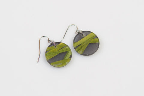 Seaweed Black Earrings - Circle