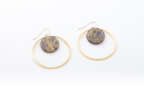 Wisp Gold Earrings - Double Circle