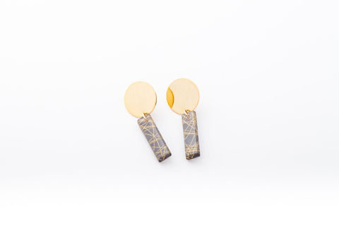 Wisp Gold Earrings - Drop Circle