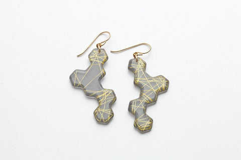 Wisp Gold Honeycomb Earrings - Long