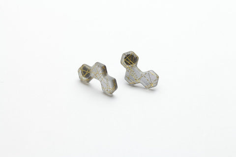 Wisp Gold Honeycomb Earrings - Stud