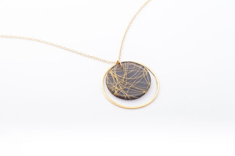 Wisp Gold Necklace - Double Circle