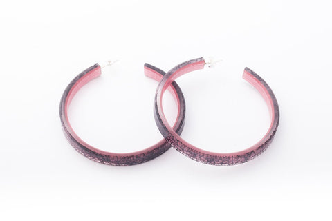 Wild Silk Rose Hoop Earrings - Large