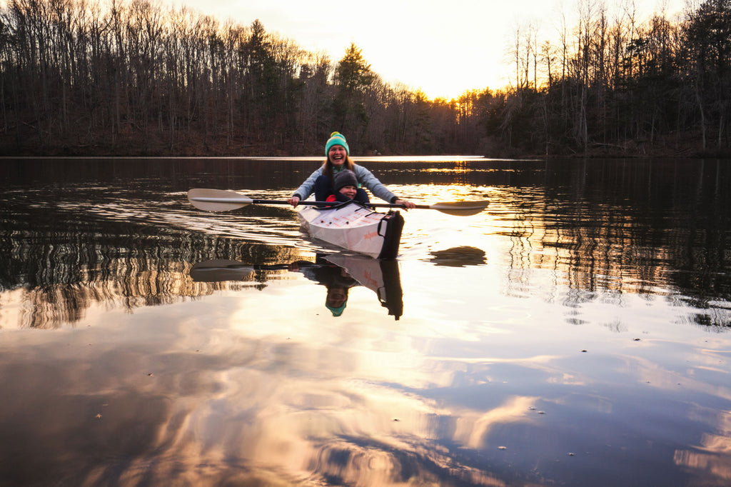 Paddling Oru Kayak at Sunset