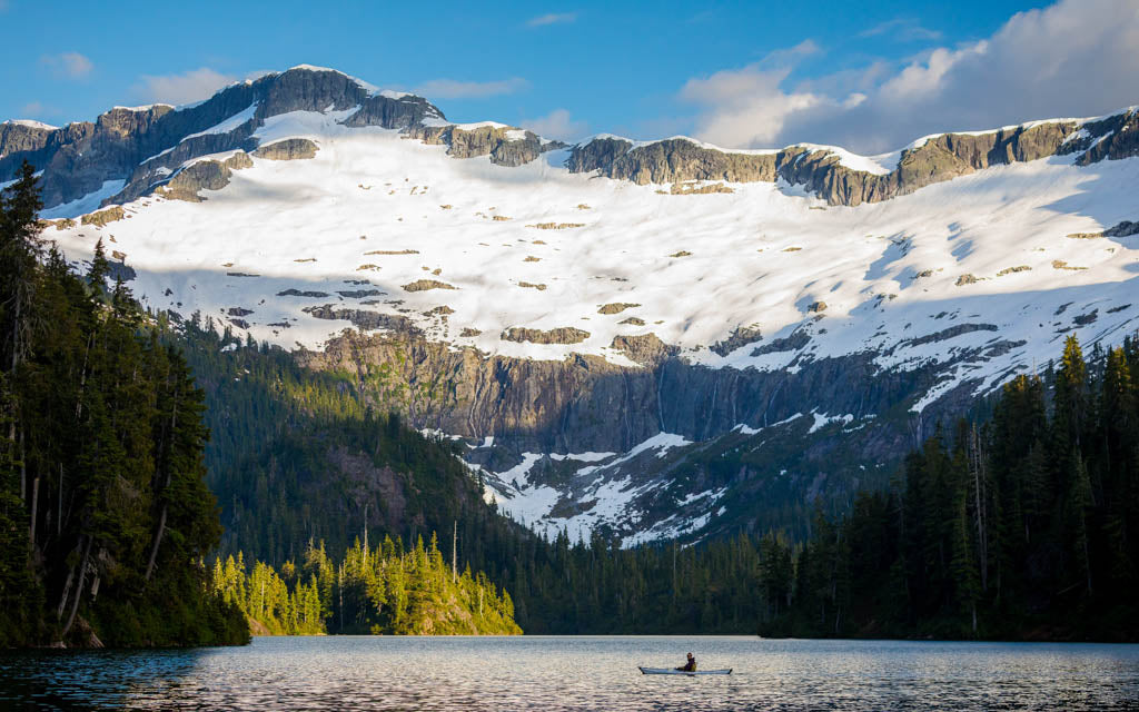 Kayaking on an alpine lake