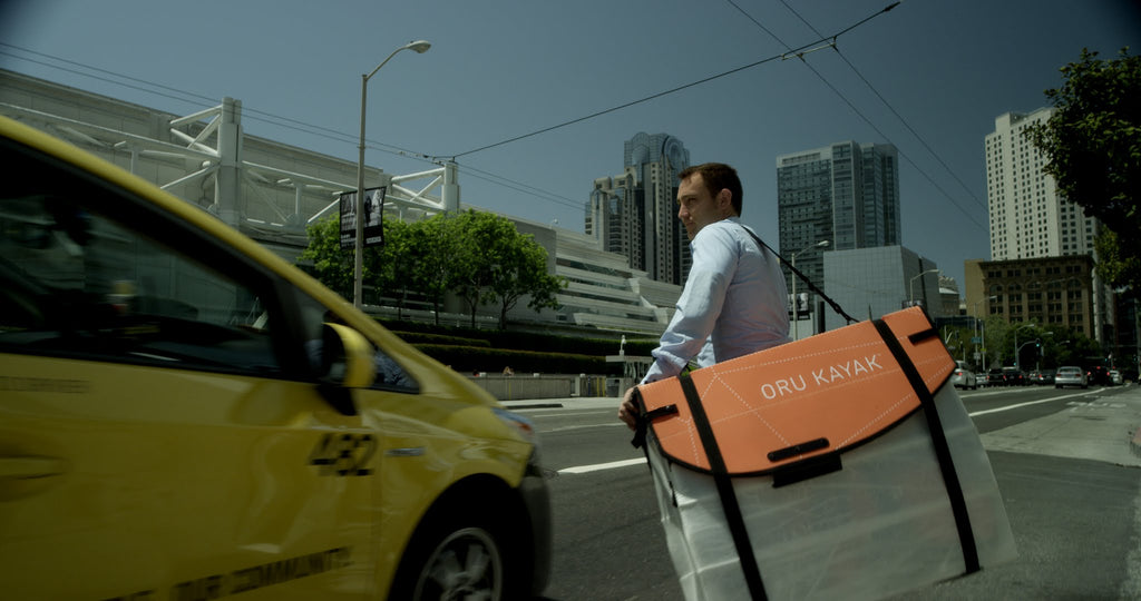 Taking Oru Kayak in a taxi
