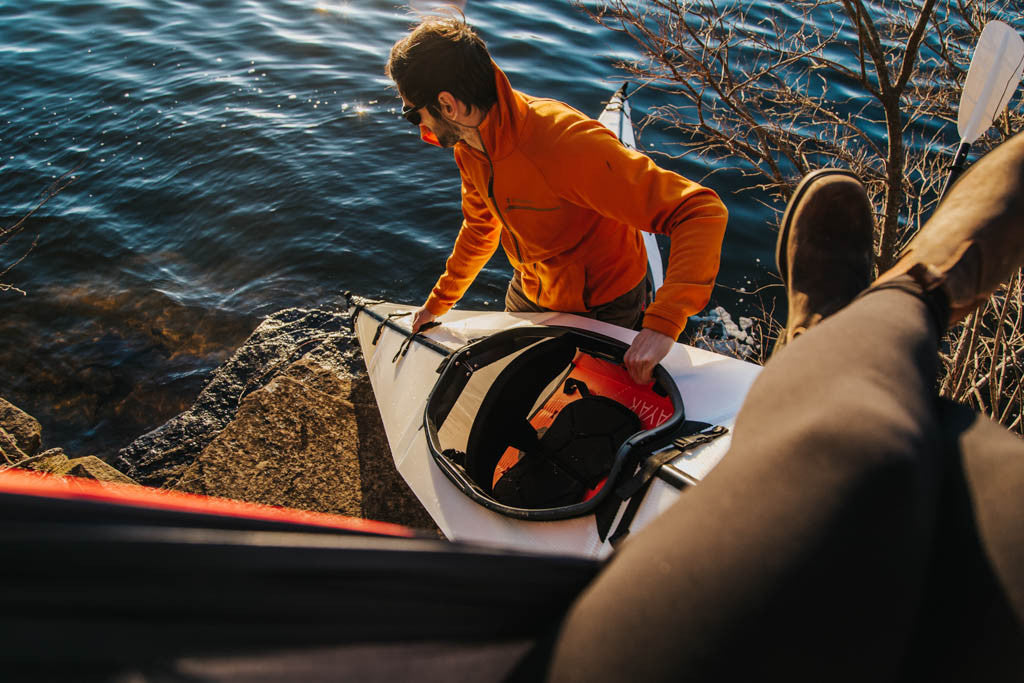 Putting kayak in water