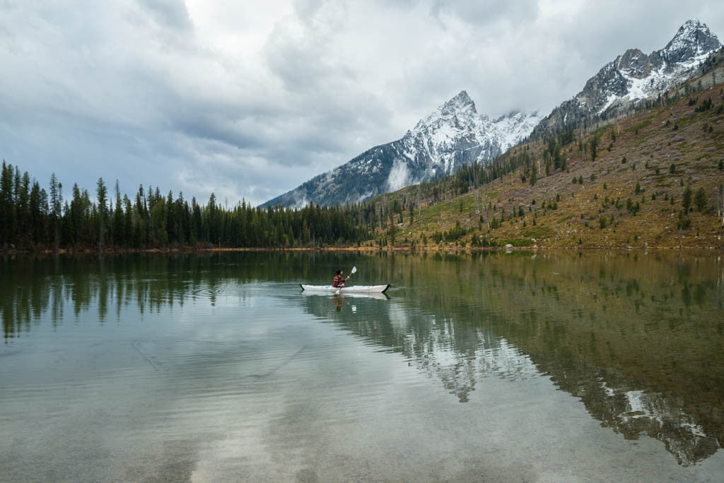 Kayaking alpine lake