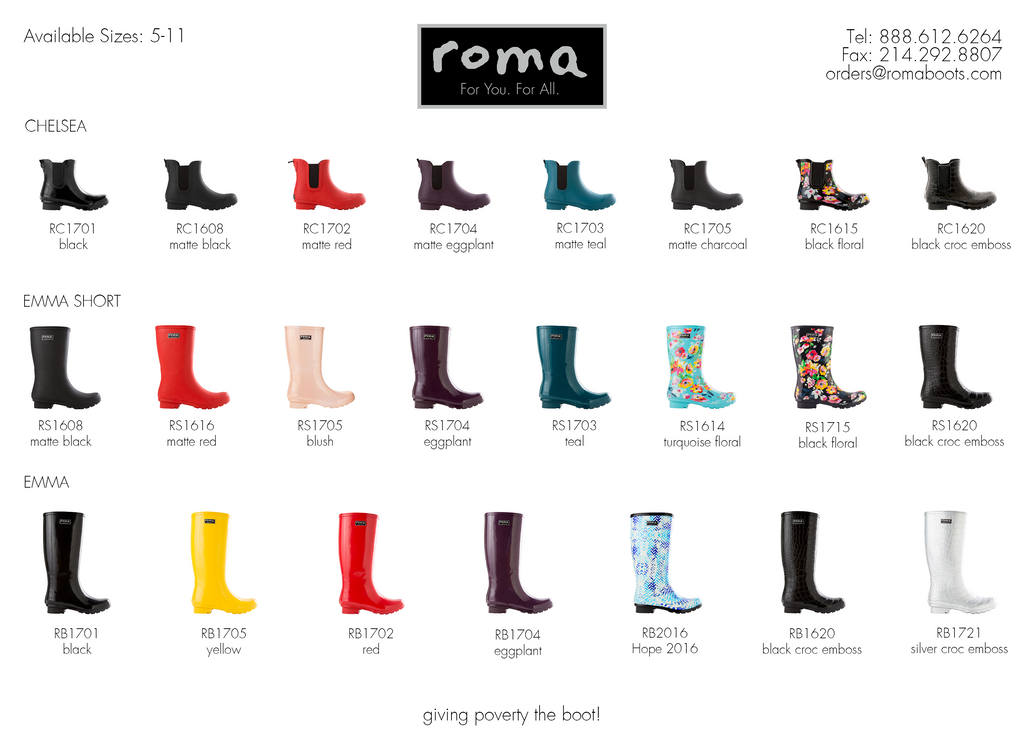 Roma Boots Line Sheet 2017