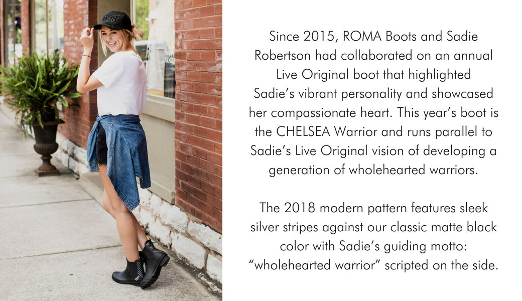 Sadie Robertson with text on the side about Chelsea Warrior and ROMA Boots