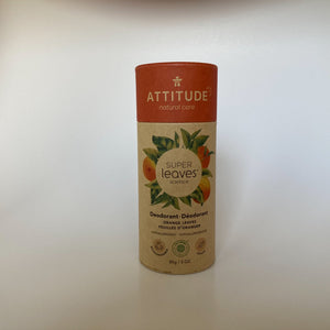 Plastic Free Natural Deodorant by Attitude Living - Super Leaves -Orange Leaves
