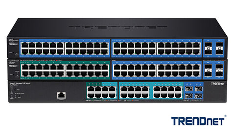 Stack of different types of TRENDnet network switches