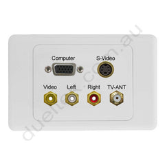 Clipsal 2000 Wall Plate VGA S-Video Composite F-Type