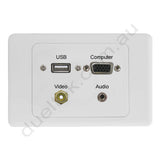 Clipsal 2000 Wall Plate VGA USB Audio RCA