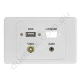 Clipsal 2000 Wall Plate USB VGA Cutout 3.5mm RCA