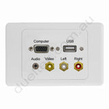Clipsal 2000 AV Wall Plate VGA Audio USB RCA