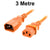 3M Orange IEC-C14 to IEC-C13 Power Cord CAB29-030-ORN
