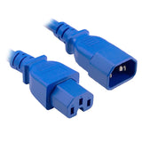 Blue IEC-C14 to IEC-C15 High Temperature IEC Extension Cord