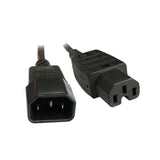 Black IEC-C14 to IEC-C15 High Temperature Male Female Power Cord