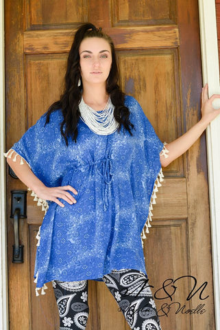 EARTHA - Poncho Top with Drawstring Waist