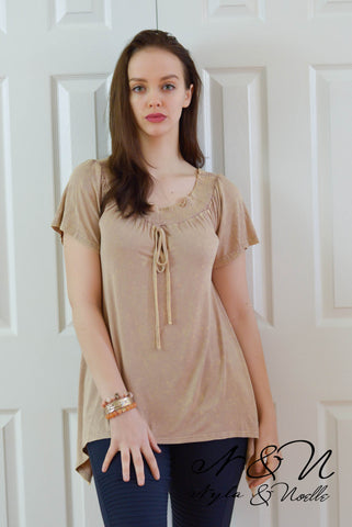 DALLAS - Desert Clay Vintage Fabric On or Off Shoulder Top