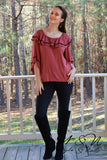 GINGERBREAD - Ruffle Neckline BOHO Top by Nyla and Noelle