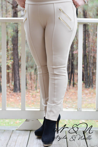 DASH - Plus Size Khaki Equestrian Style Center Seam Pants