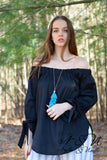ELAINE - Black Off the Shoulder Cotton Poplin Top with Tie Cuffs