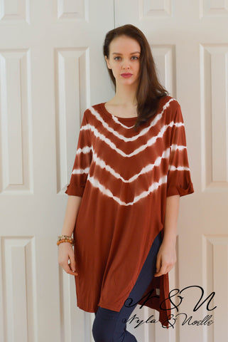 FLINT - Red Clay Long Tie Die Tunic by Nyla and Noelle