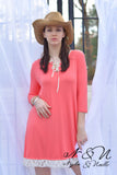 ACACIA - Coral Dress with Lace Up Neck and Lace Hem