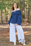 GREER - Navy Striped Wide Leg Palazzo Pants by Nyla and Noelle