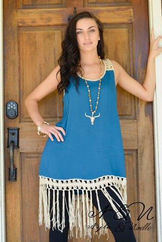 FRANCINE - Marine Blue Fringe Tank Tunic by Nyla and Noelle