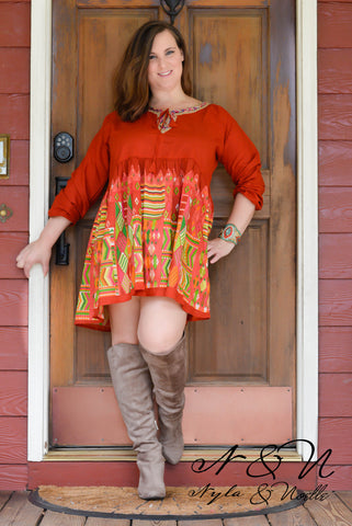Loretta (Sunset) Plus Size BOHO Print Dress by Nyla and Noelle