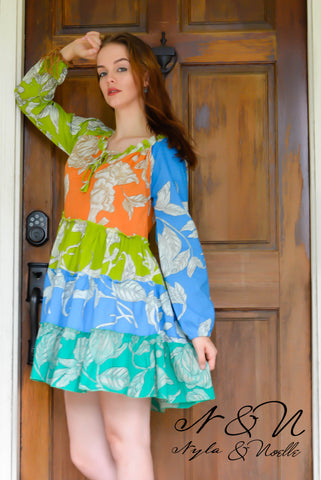 MINT JULEP Orange - Floral Print BOHO Dress by Nyla and Noelle