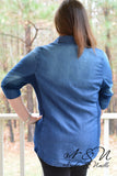 DECEMBER - Plus Size Dark Faded Denim Chambray Top