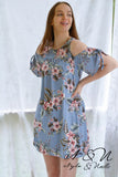 MALIBU - Vintage Blue Tropical Floral Print Cold Shoulder Dress
