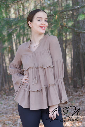 CARMEL - Tiered Boho Top with Bell Sleeves and Tassels by Nyla and Noelle