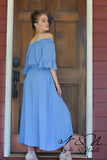IRYNA -  Peasant Sleeve Vintage Blue Midi Dress by Nyla and Noelle