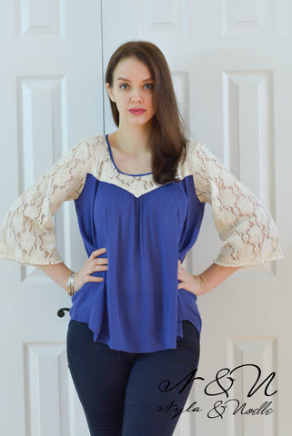 LIVINGSTON - Royal Crepe Top with Cream Lace Panels