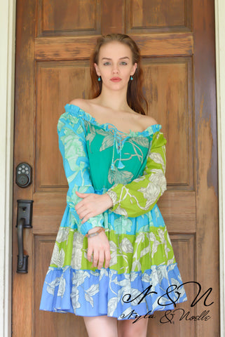 MINT JULEP Mint - Floral Print BOHO Dress by Nyla and Noelle