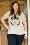 GYPSY - Plus Size Lace Up Neck Print Tee Shirt by Nyla and Noelle