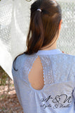 BLUEBELL - Comfortably Chic Vintage Fabric Top with Lace Panels